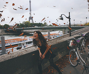 girl, paris, and bike image