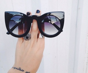 sunglasses, black, and summer image