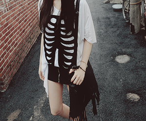 black and white, bag, and clothes image