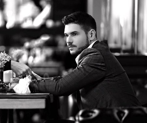 actor, black and white, and Hottie image