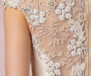 lace, pearl, and wedding image