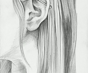 girl, drawing, and piercing image
