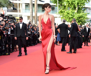 red dress, cannes film festival, and bella hadid image