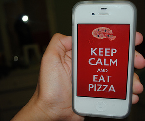 keep calm, pizza, and iphone image
