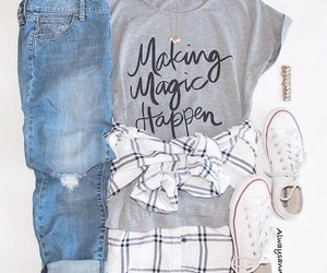 outfit, converse, and flannel image