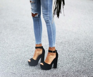 fashion, shoes, and jeans image