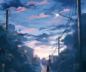 anime, sky, and blue image