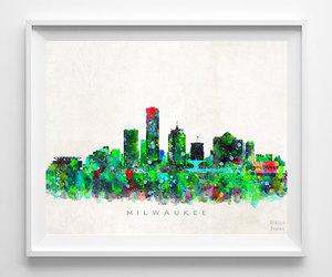 cityscape, wall decor, and watercolor art image