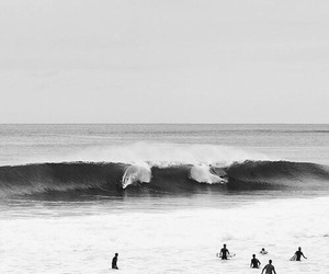 surf, beach, and black and white image