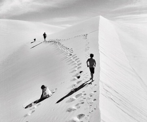 sand, black and white, and desert image