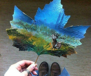 art, leaf, and painting image