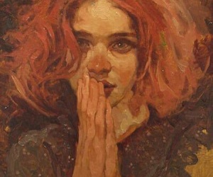 art, girl, and orange image