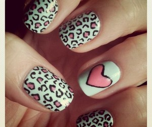 heart, nails, and leopard nails image