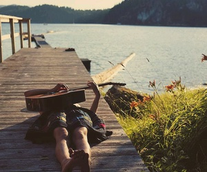 girl, guitar, and nature image