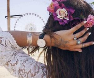 fashion, coachella, and flowers image