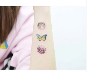 tattoo, butterfly, and flower image