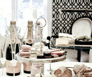 cake, macaron, and champagne image