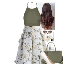floral skirt, ivory, and crop top image