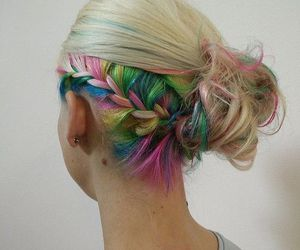 hair, color, and rainbow image