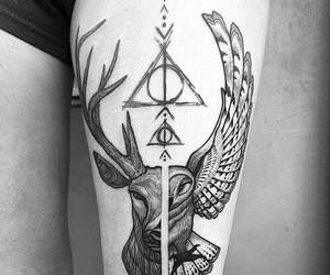 deathly hallows, leg, and tattoo image