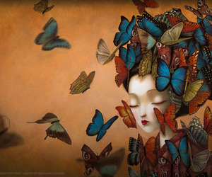 art, butterfly, and drawings image