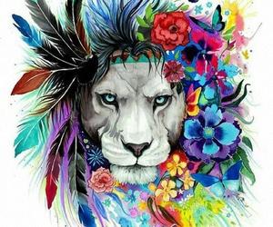 lion, art, and animal image