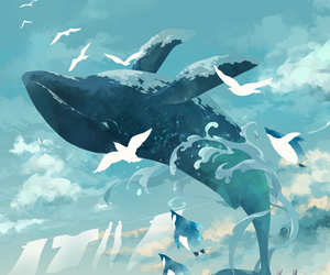 anime, art, and whale image