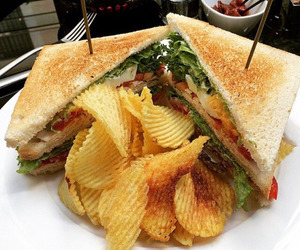 food, chips, and sandwich image