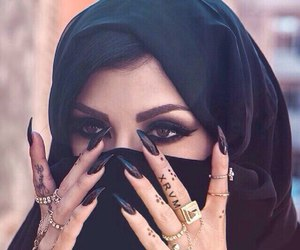nails, black, and makeup image