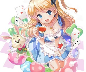 alice in wonderland, anime girl, and beautiful image