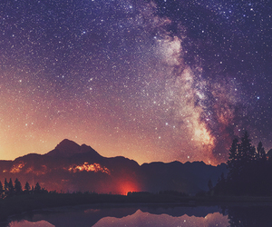 stars, mountains, and galaxy image
