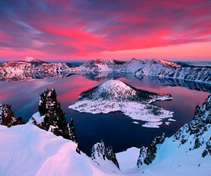 sky, snow, and pink image