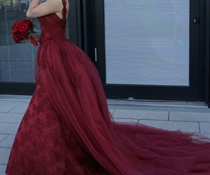 beauty, dress, and flowers image