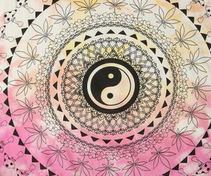 pink, yin yang, and wallpaper image