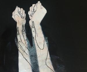 dark, hands, and illustration image