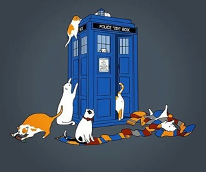cat, doctor who, and tardis image