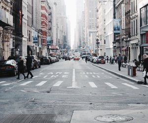 city, street, and people image