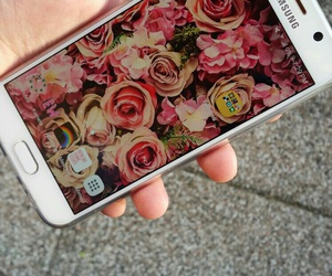 cellphone, flower, and galaxy image