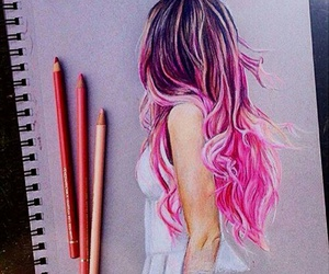 pink, art, and drawing image