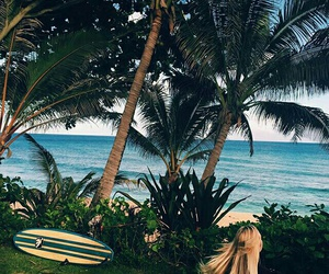 beach, sea, and girl image