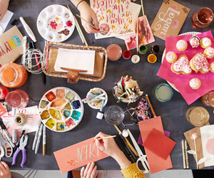 calligraphy, cupcakes, and girls night image