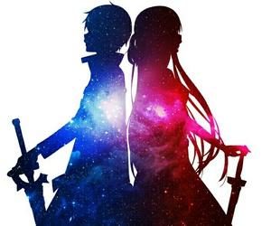 anime, galaxy, and kirito image