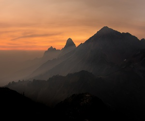 mountains, orange, and wallpaper image
