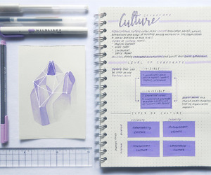 study, notes, and purple image