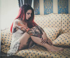 Tattoos, alternative girl, and love image