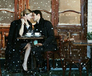 coffe, snow, and couple image