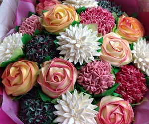 flowers, cupcakes, and food image