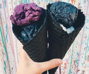 ice cream, food, and black image