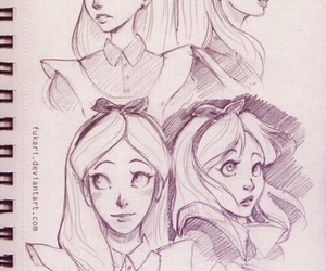 drawing, alice, and alice in wonderland image