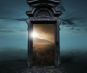 big door, surreal., and other dimension image